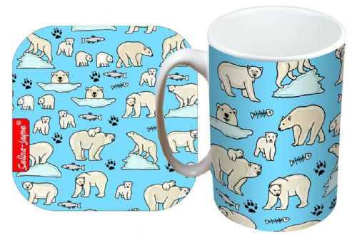 Selina-Jayne Polar Bear Limited Edition Designer Mug and Coaster Set